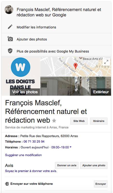 Aperçu d'une fiche de référencement local sur Google My Business